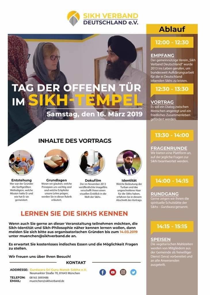Tag der offenen Tür – Gurdwara Sahib München 16.03.2019